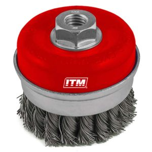 ITM Twist Knot Cup Brush Stainless Steel 75mm w/Band